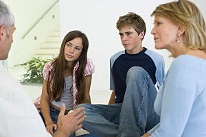 Parents talking to teens